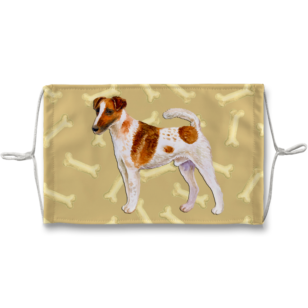 Smooth Fox Terrier Tan Bones Sublimation Face Mask