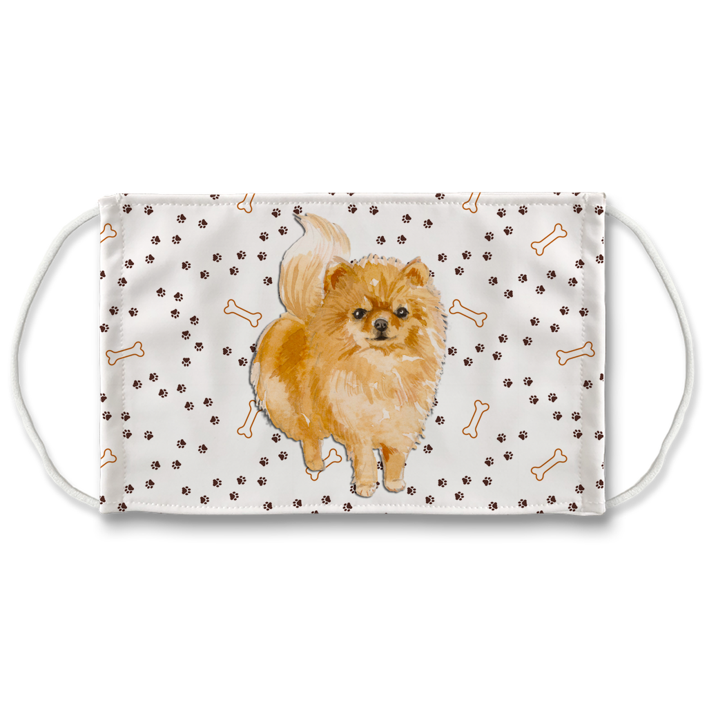 Pomeranian Dog Paw Print Sublimation Face Mask
