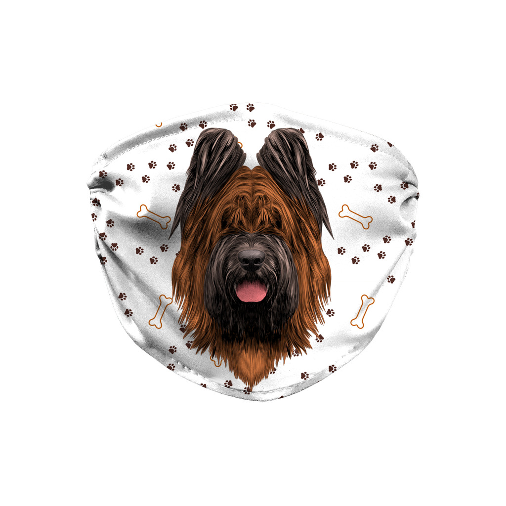 Briard Dog Paw Print Sublimation Face Mask