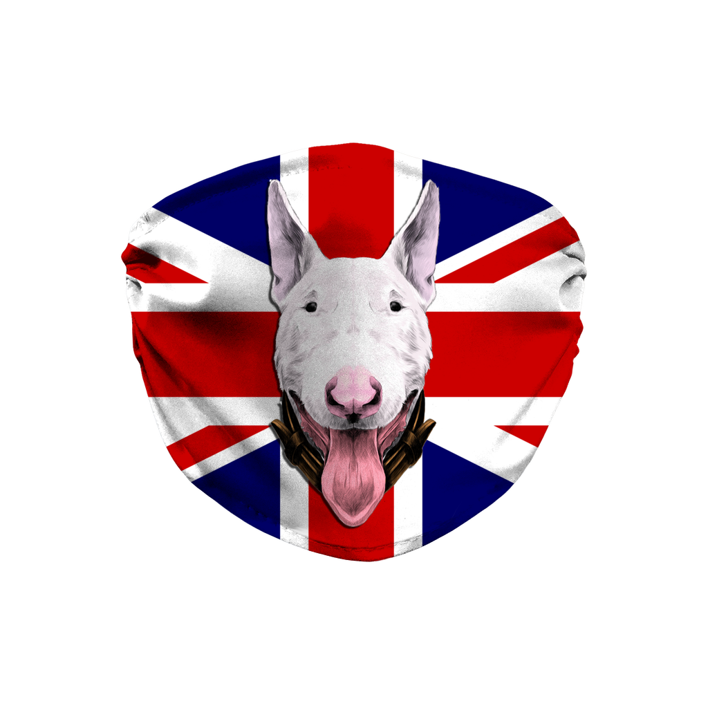 Bull Terrier Dog - Union Jack Flag Sublimation Face Mask