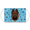 Briard Dog watercolor - Blue Paw Print Sublimation Face Mask
