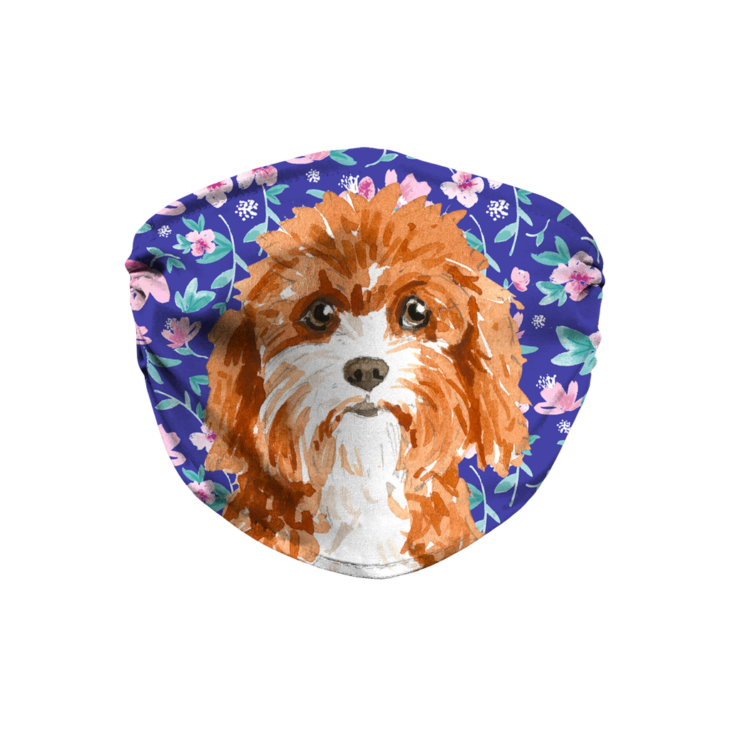 Cavapoo Dog - Blue Floral Sublimation Face Mask
