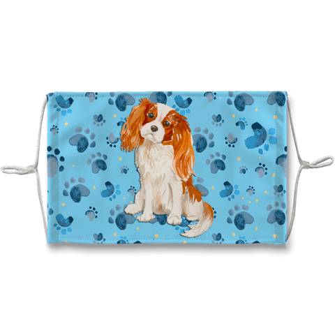 Cavalier King Charles Spaniel Dog Blue Paw Print Sublimation Face Mask