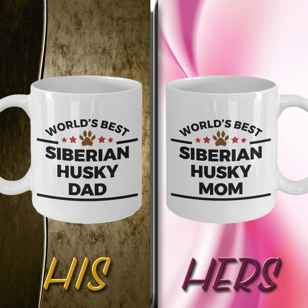 World's Best Siberian Husky Dad and Mom Couple Ceramic Mug - Set of 2 His and Hers