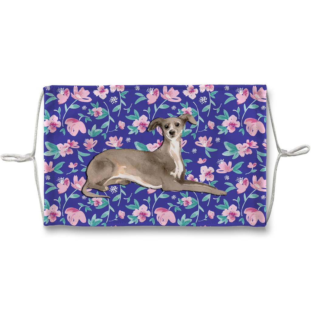 Italian Greyhound watercolor blue floral Sublimation Face Mask