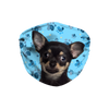 Chihuahua Black and Tan on Blue Paw Print Sublimation Face Mask