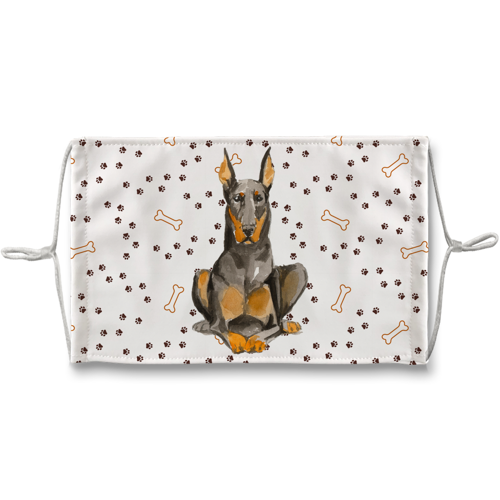 Doberman Pinscher Watercolor Paw Print Sublimation Face Mask