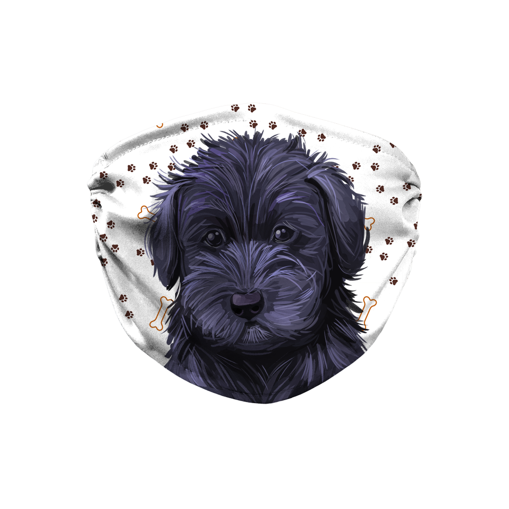 Schnoodle Puppy Paw Print Sublimation Face Mask