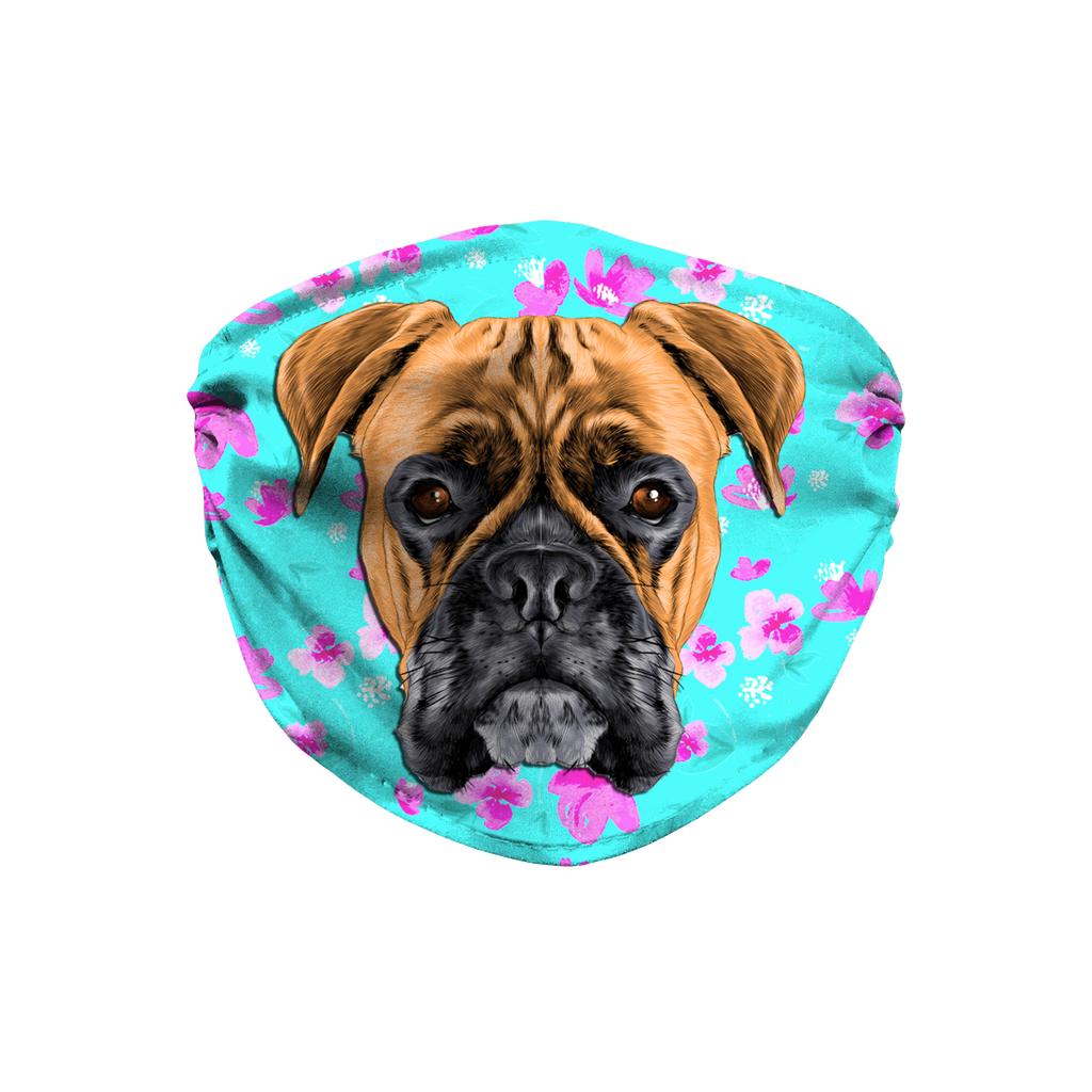Boxer Dog Watercolor - Mint Floral Sublimation Face Mask