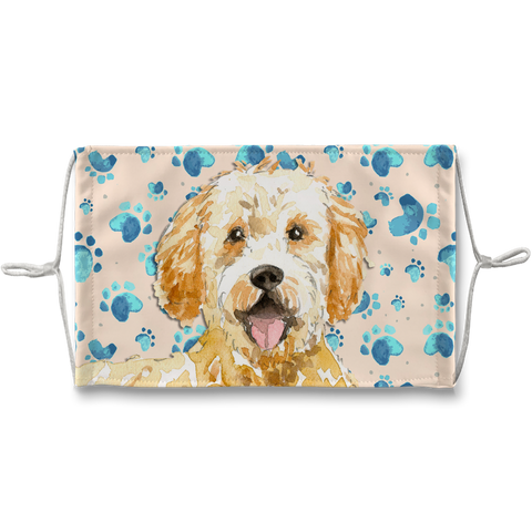 Goldendoodle Dog Tan Paw Print Sublimation Face Mask