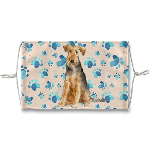 Welsh Terrier Dog Tan Paw Print Sublimation Face Mask