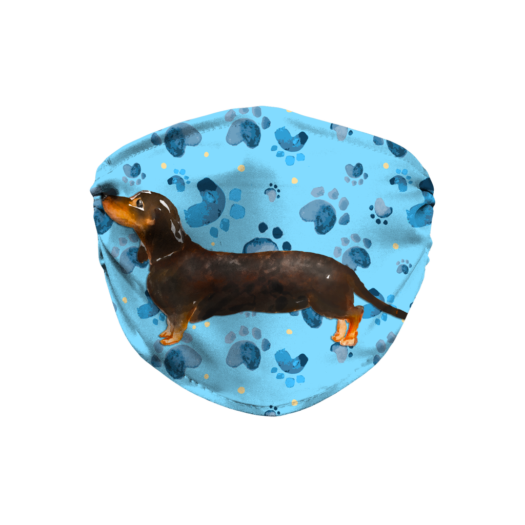 Dachshund Dog watercolor blue paw print Sublimation Face Mask