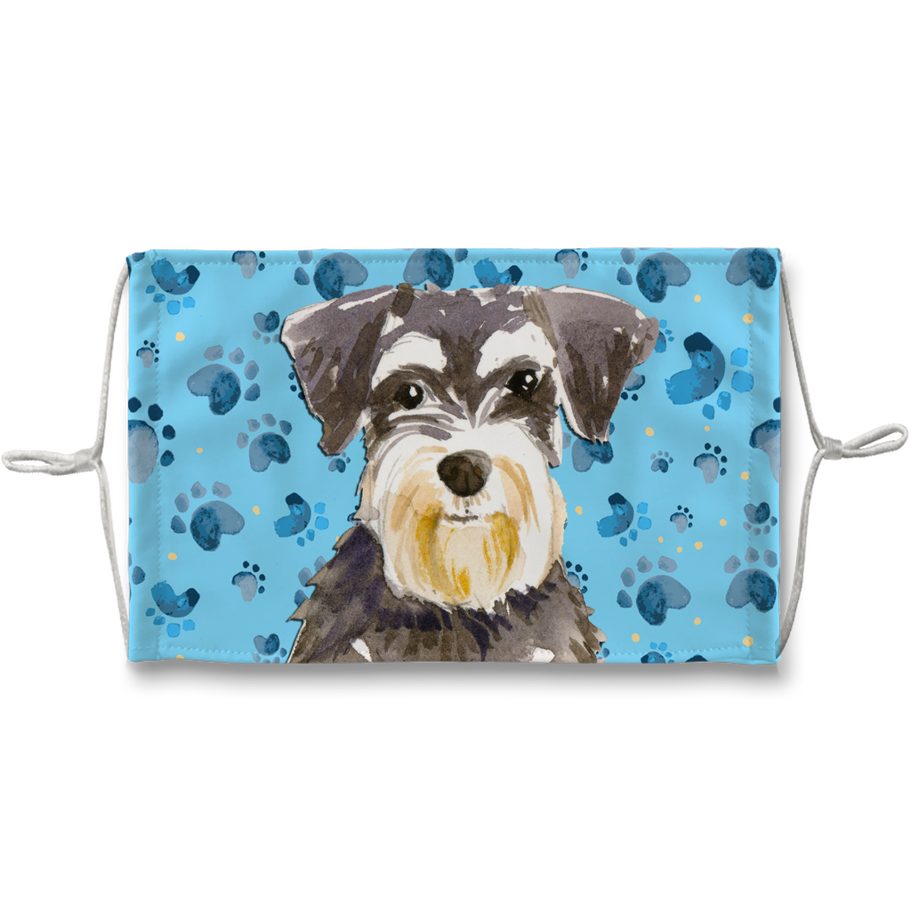 Miniature Schnauzer Puppy Blue Paw Print Sublimation Face Mask
