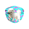 Bichon Frise Mint Floral Sublimation Face Mask