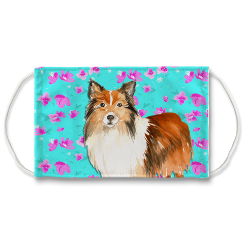 Shetland Sheepdog Mint Floral Sublimation Face Mask