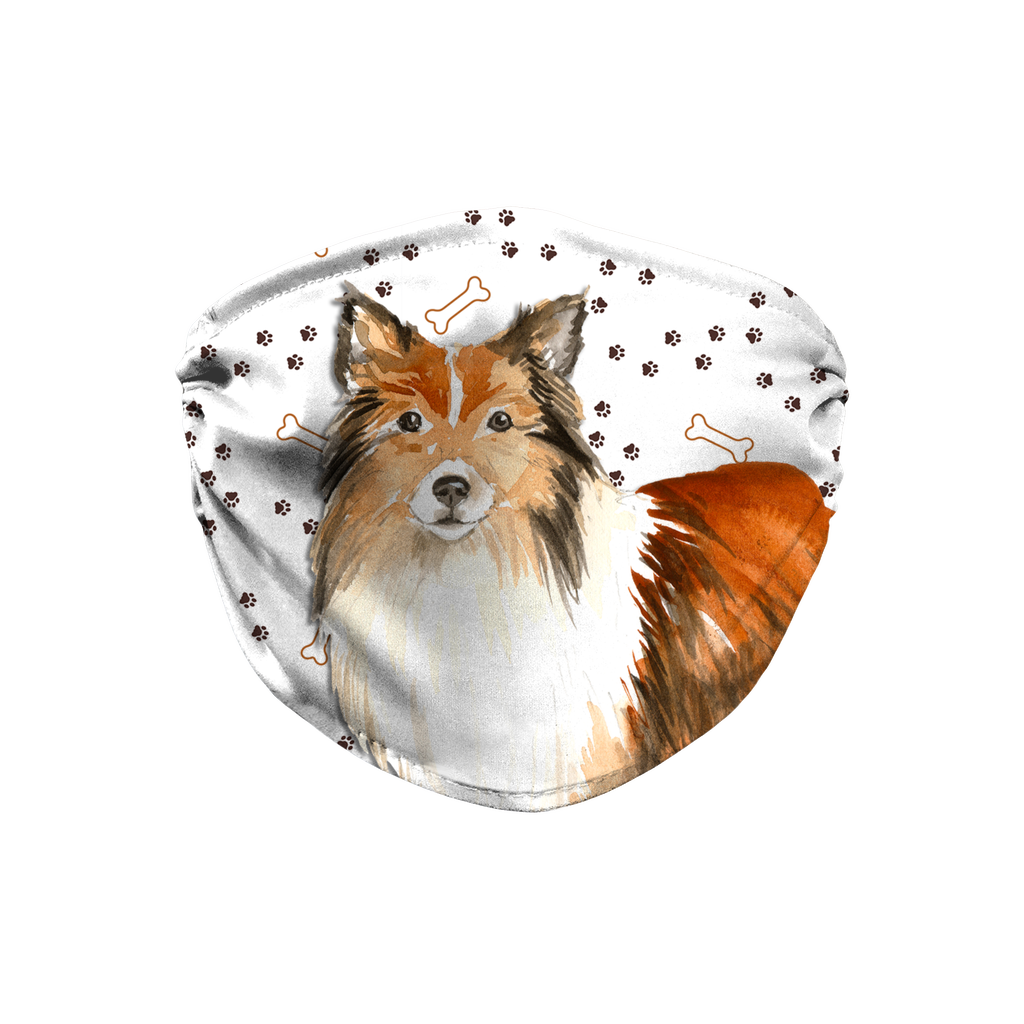 Shetland Sheepdog Paw Print Sublimation Face Mask
