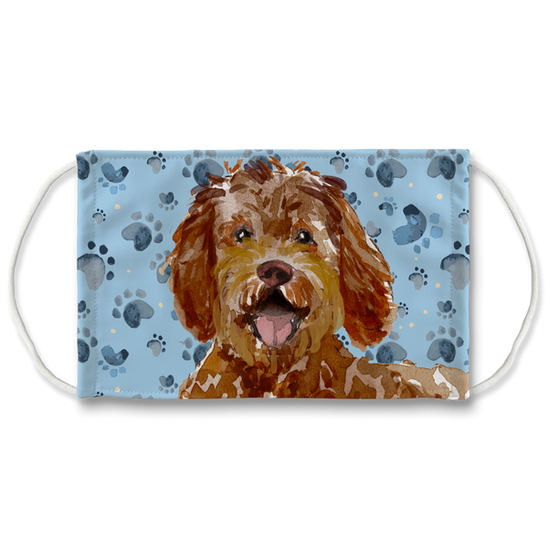 Labradoodle Dog watercolor - Blue Paw Print Sublimation Face Mask