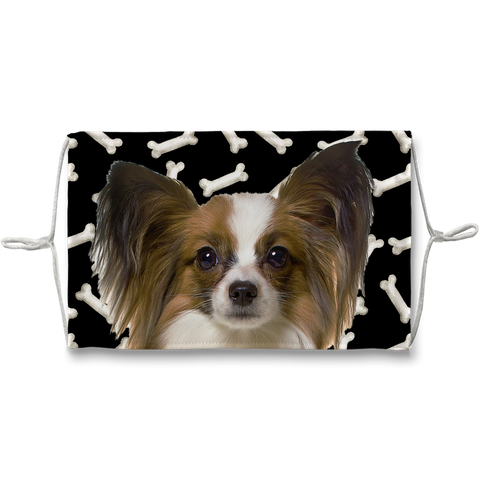Papillon Puppy Dark Bones Sublimation Face Mask