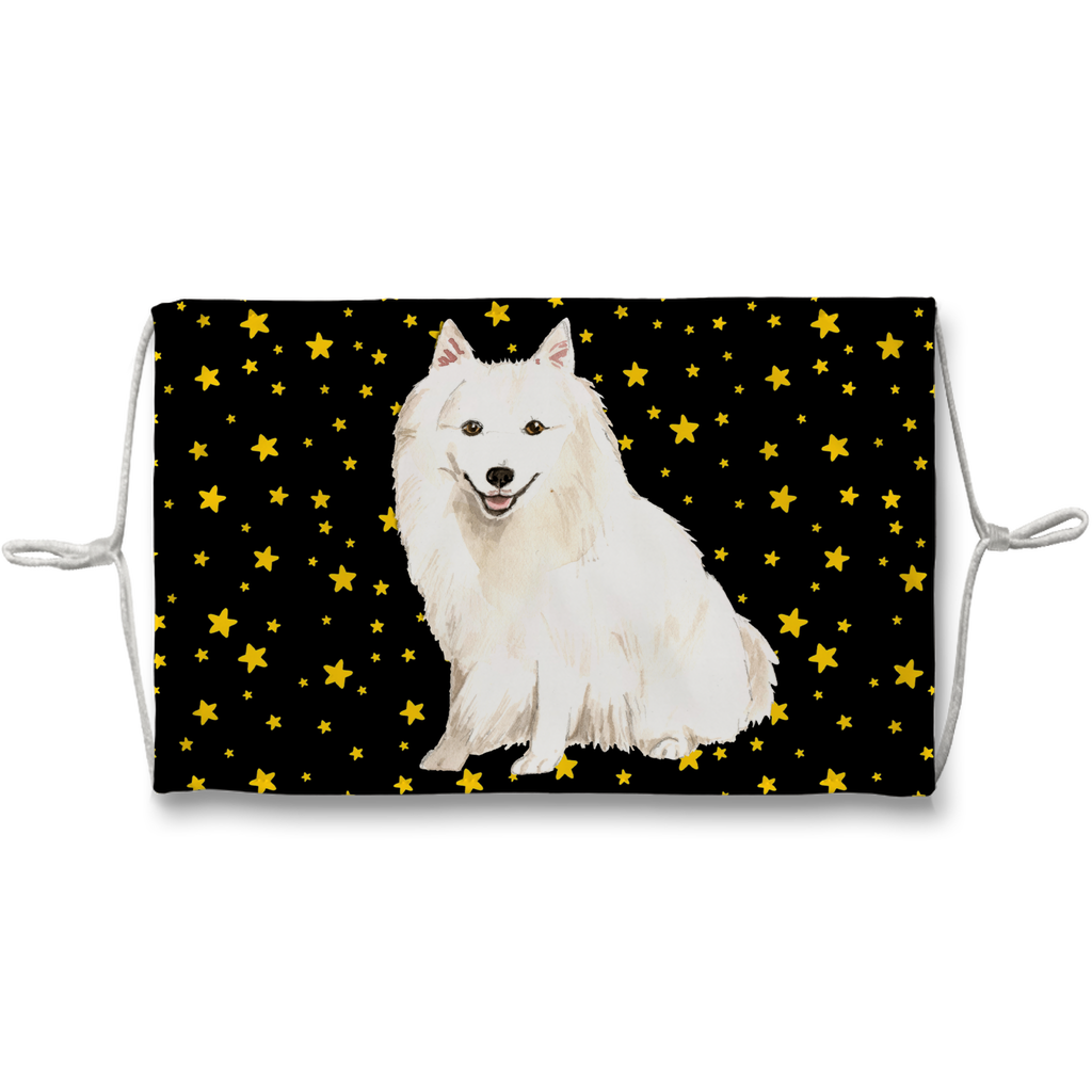 Japanese Spitz Dog Black with Yellow Stars Sublimation Face Mask