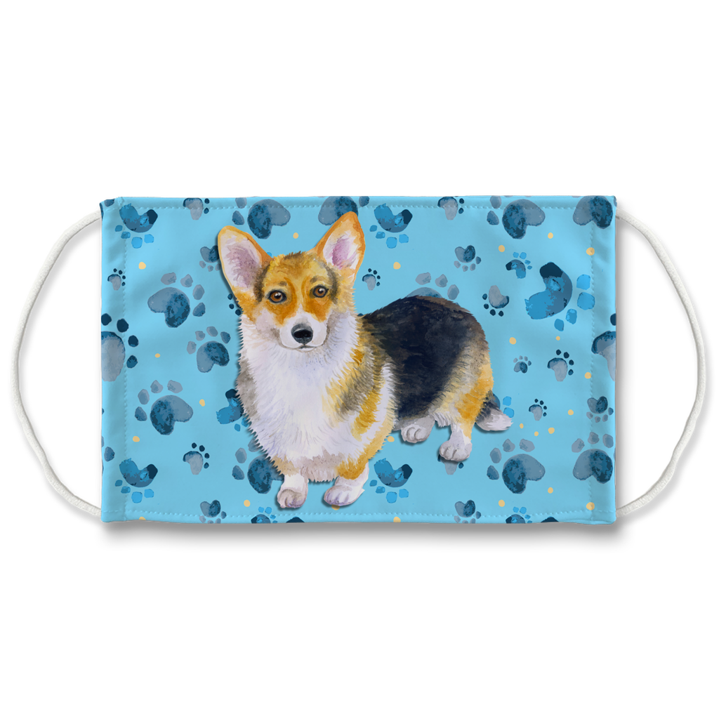 Pembroke Corgi Dog Blue Paw Print Sublimation Face Mask