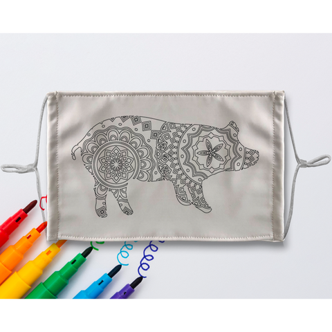 Pig Mandala Sublimation Coloring Face Mask