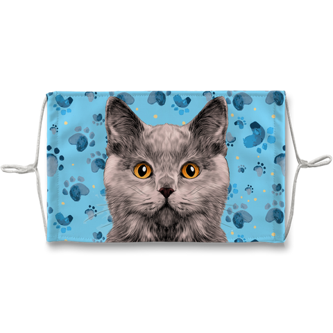 British Shorthaired Cat Blue Paw Print Sublimation Face Mask