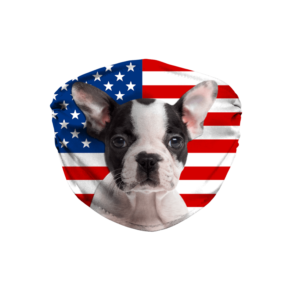 Boston Terrier Puppy on USA Flag Sublimation Face Mask