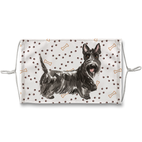 Scottish Terrier Dog Paw Print Made in London Sublimation Face Mask