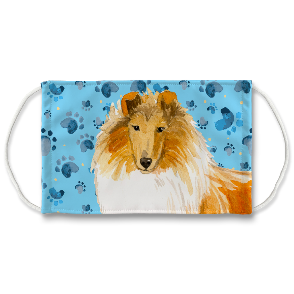 Collie Dog Blue Paw Print Sublimation Face Mask