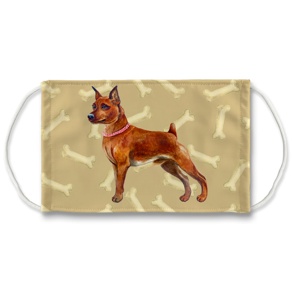Miniature Pinscher Bronw - Tan Bones Sublimation Face Mask