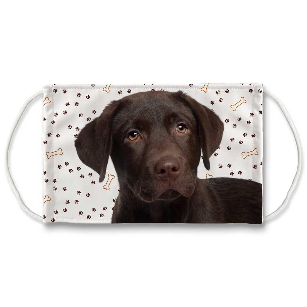 Chocolate Labrador Retriever Puppy Paw Print Sublimation Face Mask