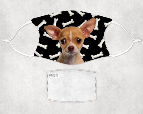 Chihuahua puppy -tan- Face mask  child and adult sizes Made in USA Washable Reusable