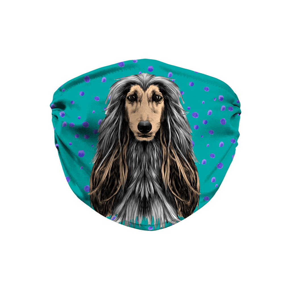 Afghan Hound Dog Teal Sublimation Face Mask
