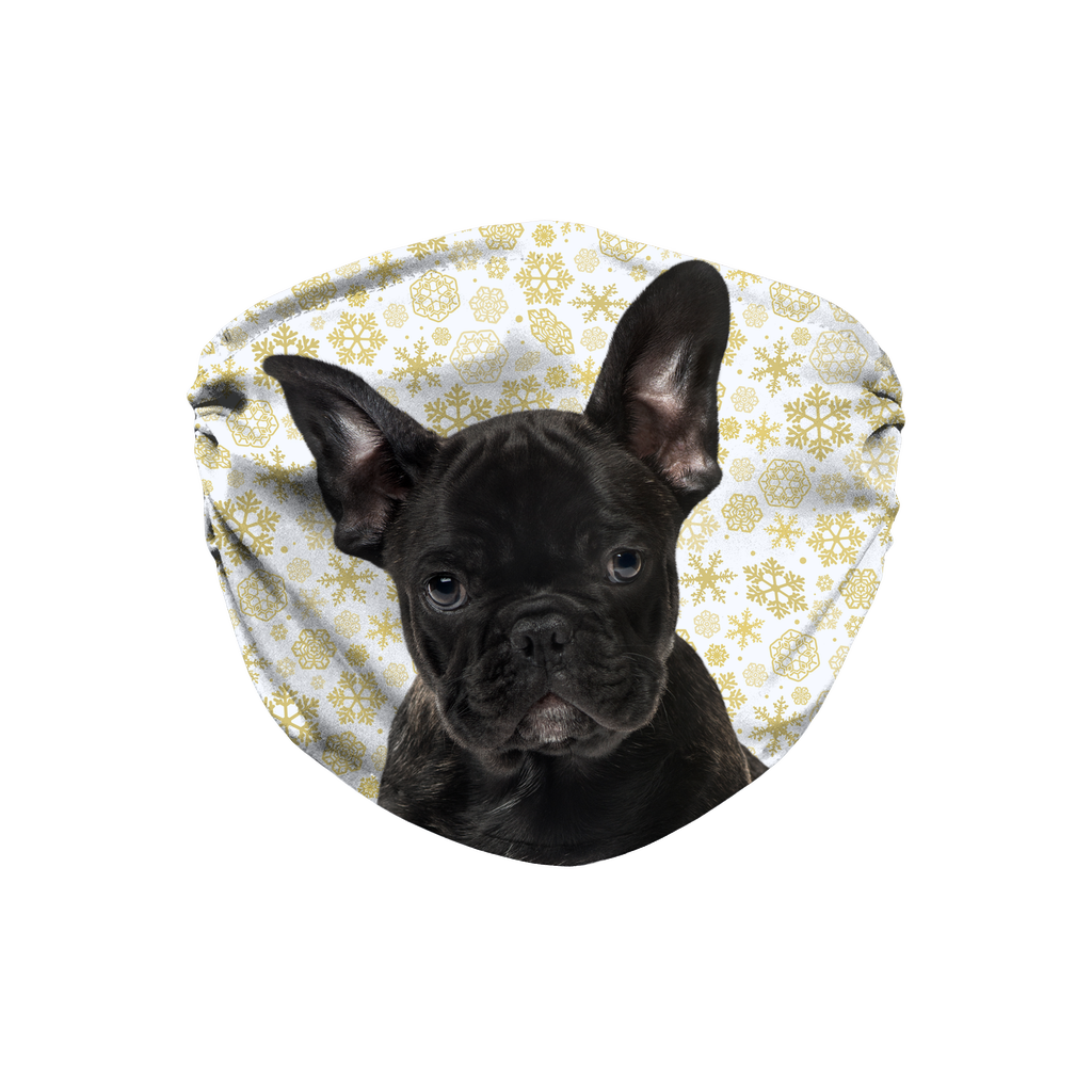 French Bulldog Puppy Gold Snowflake Sublimation Face Mask