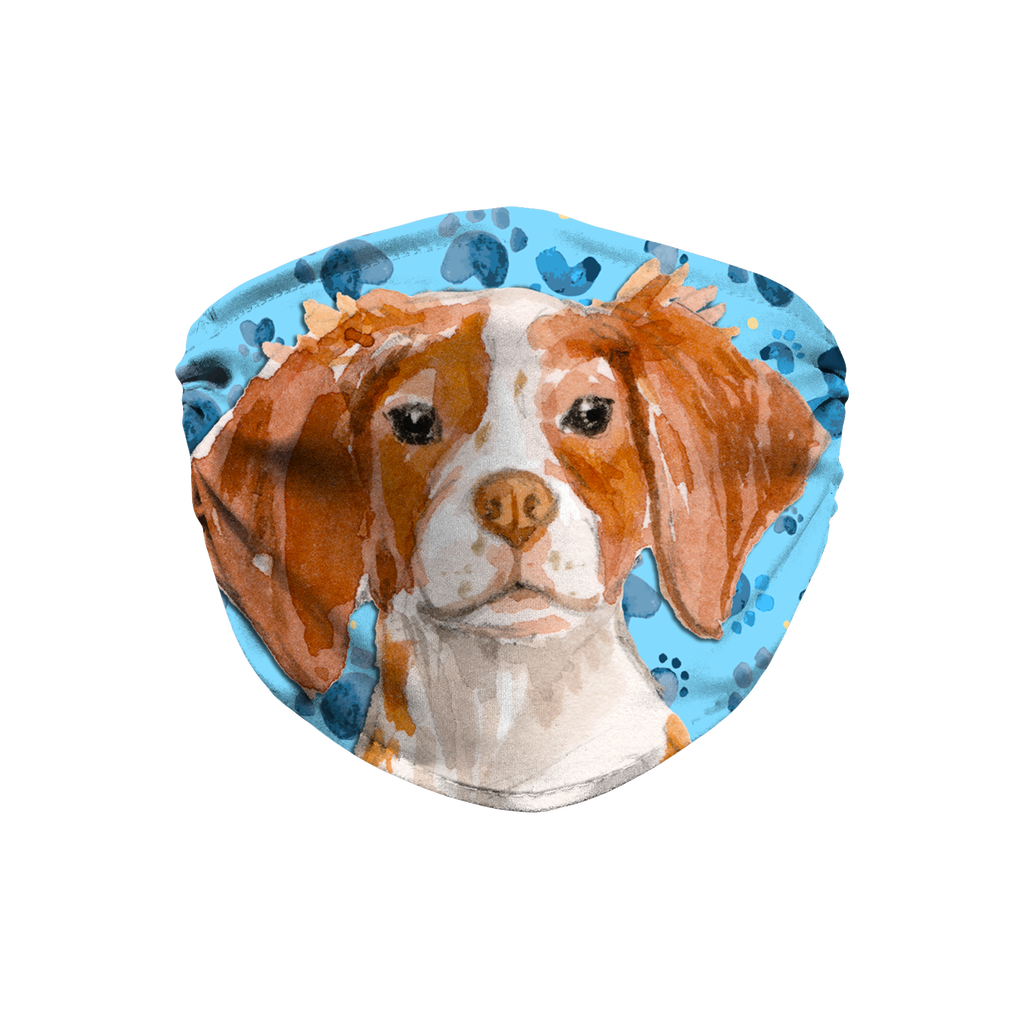 Brittany Spaniel Dog Blue Paw Print Sublimation Face Mask