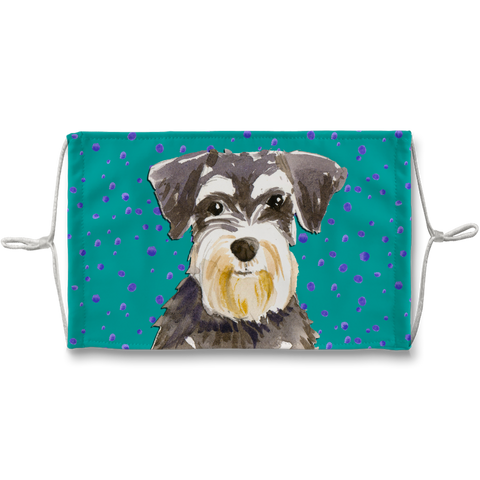 Miniature Schnauzer Teal Sublimation Face Mask