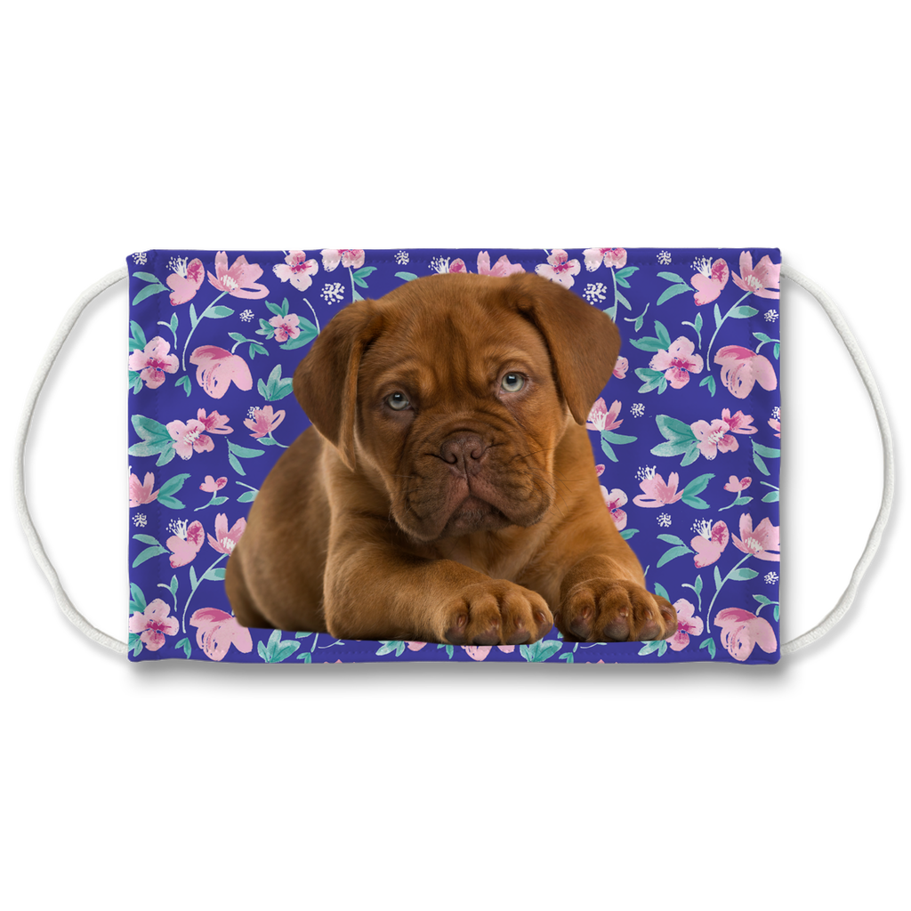Dogue de Bordeaux Blue Floral Sublimation Face Mask