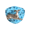 Italian Greyhound Dog Blue Paw Print Sublimation Face Mask
