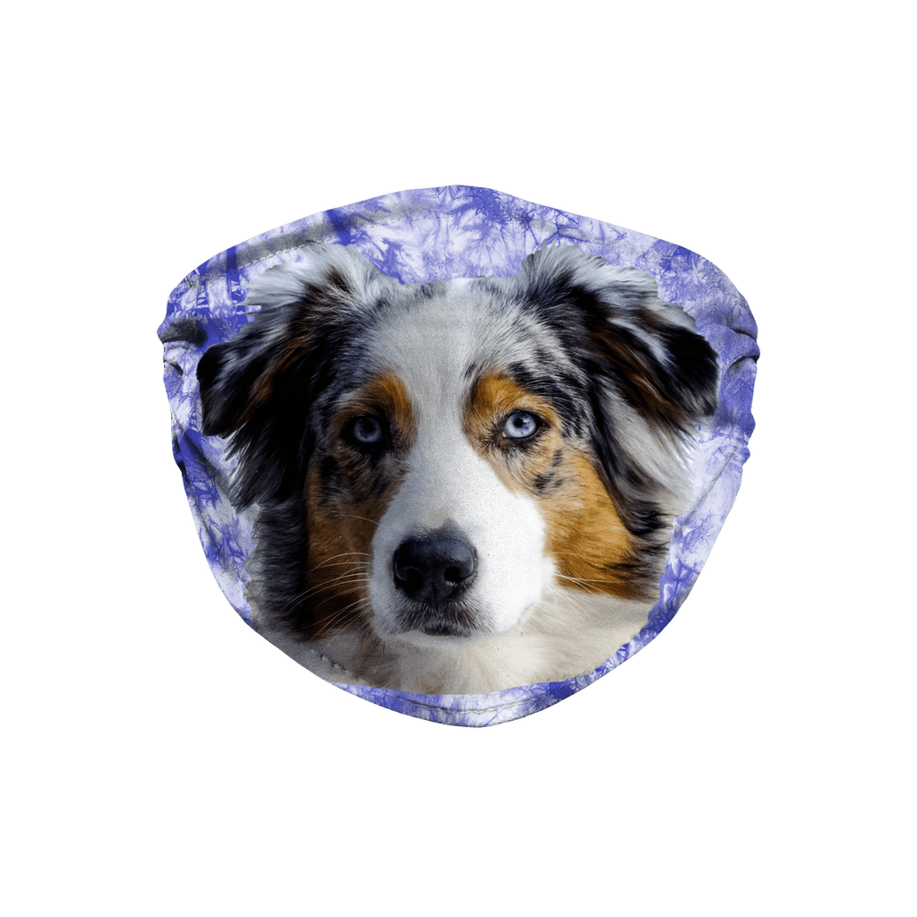 Australian Shepherd Indigo Blue Tie Dyed Sublimation Face Mask
