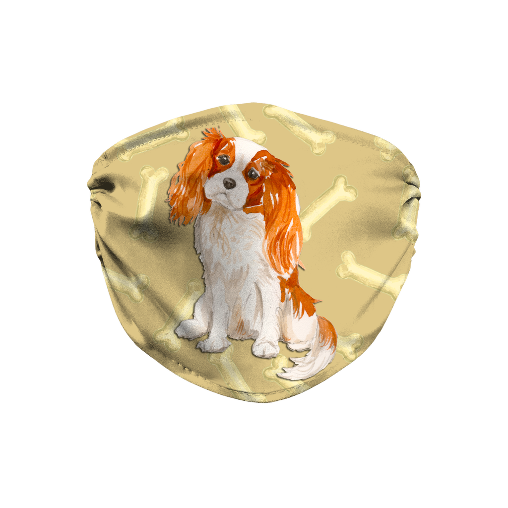 Cavalier King Charles Spaniel watercolor puppy Sublimation Face Mask