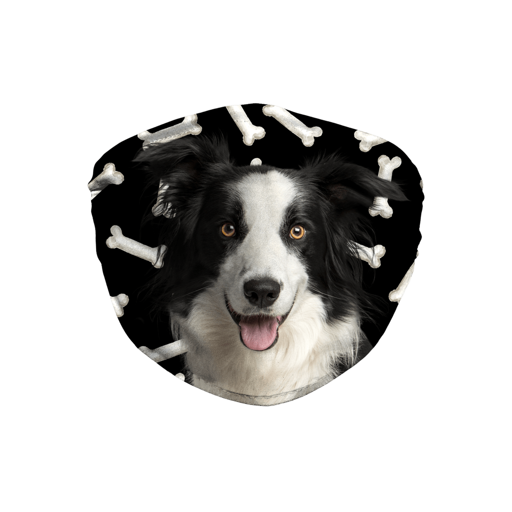 Border Collie Dog Dark Bones Sublimation Face Mask