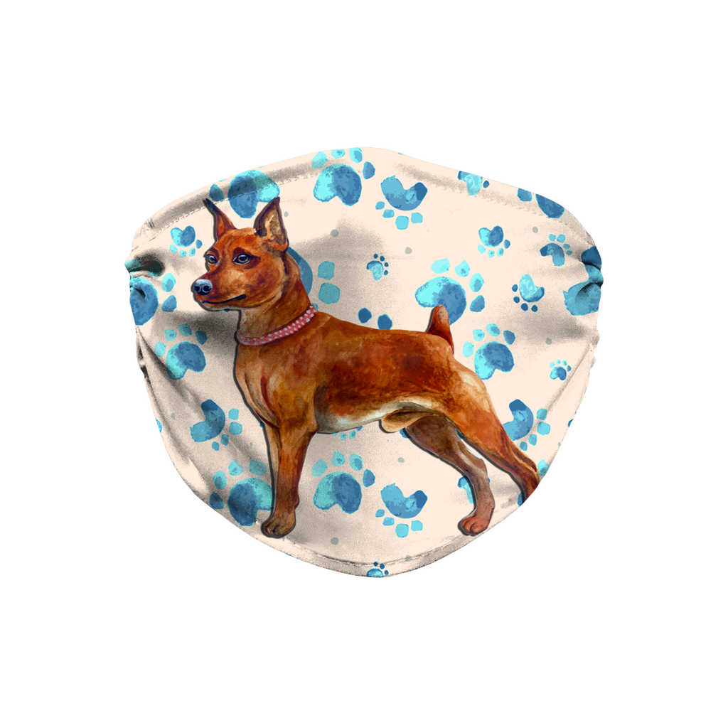 Miniature Pinscher Dog Brown - Tan Paw Print Sublimation Face Mask