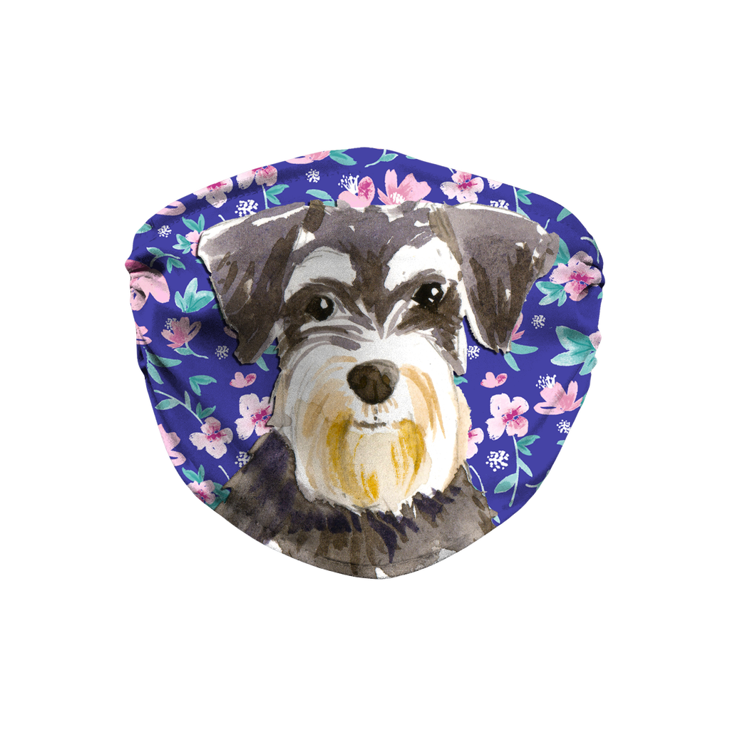 Miniature Schnauzer Blue Floral Print Sublimation Face Mask