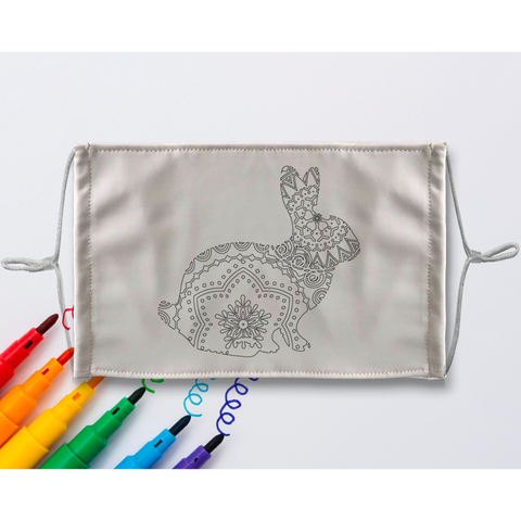 Rabbit Mandala Sublimation Coloring Face Mask