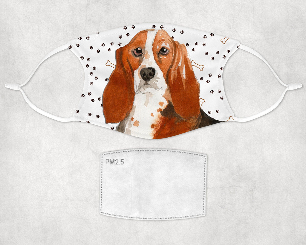 Basset Hound face mask child and adult sizes Made in USA