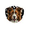 Border Collie Brown Watercolor Dark Bones Sublimation Face Mask