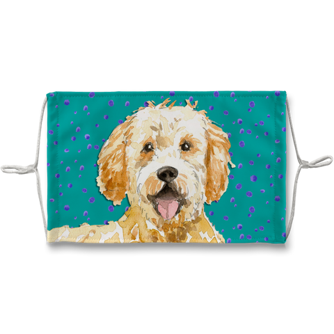Goldendoodle Dog Teal Sublimation Face Mask