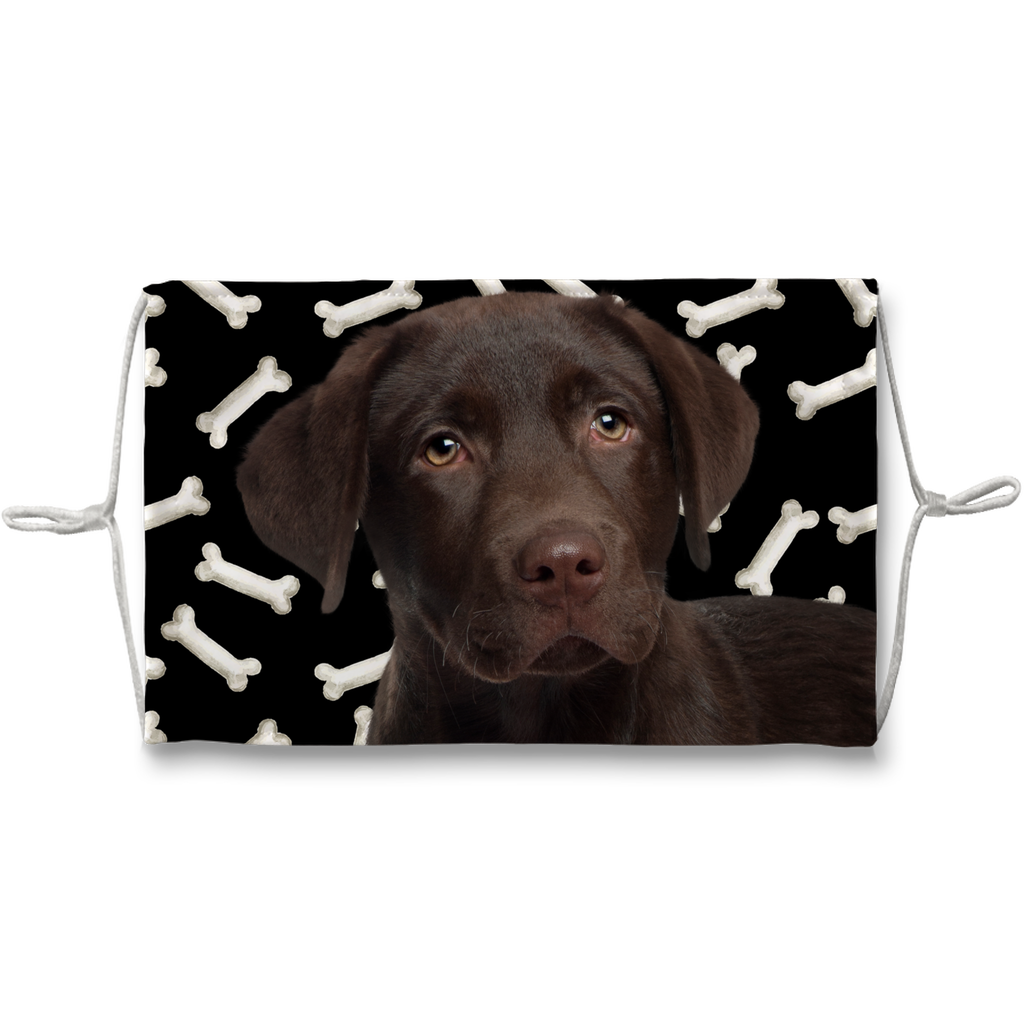Chocolate Labrador Retriever Puppy Dark Bones Sublimation Face Mask