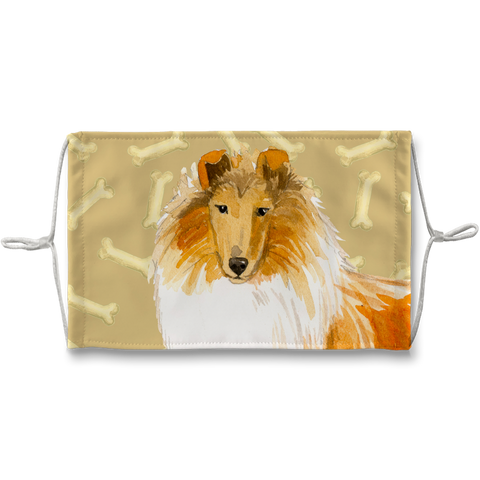 Collie Dog Tan Bones Sublimation Face Mask