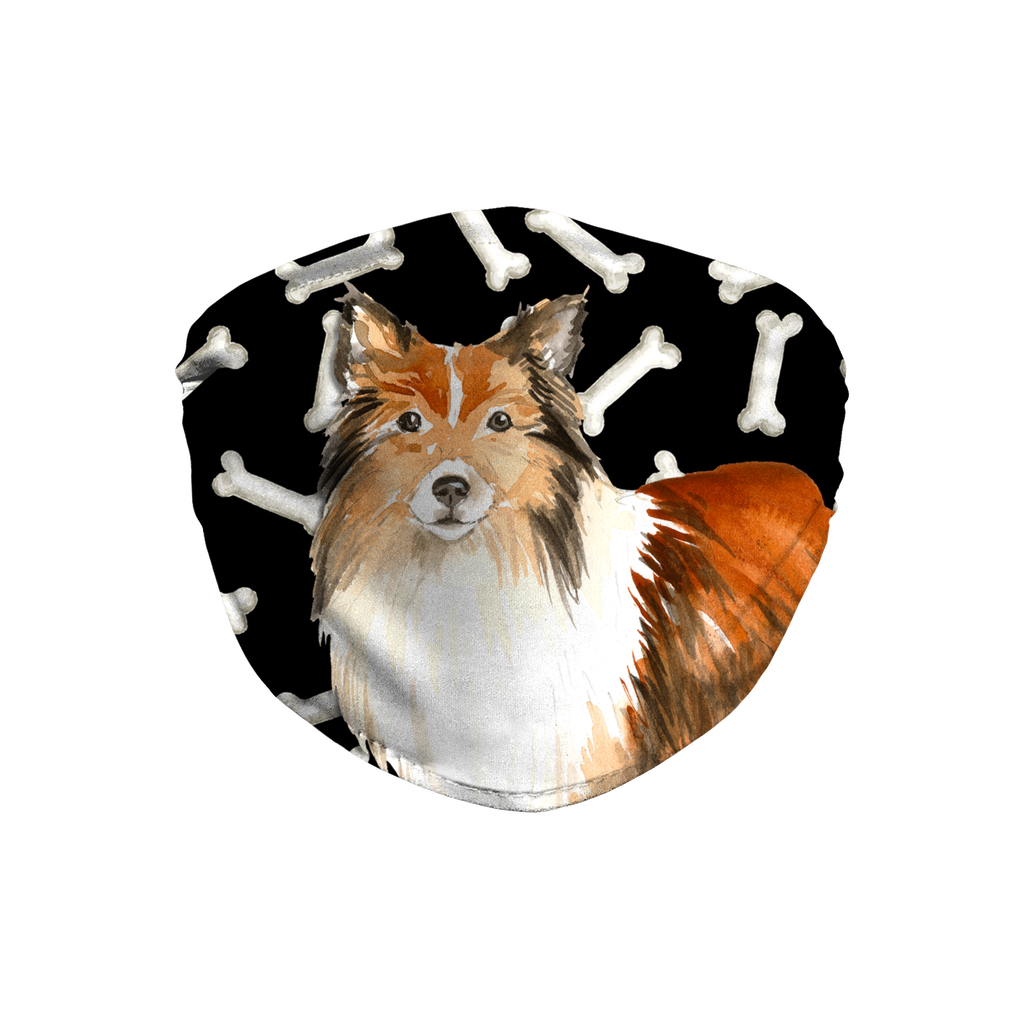 Shetland Sheepdog Dark Bones Sublimation Face Mask